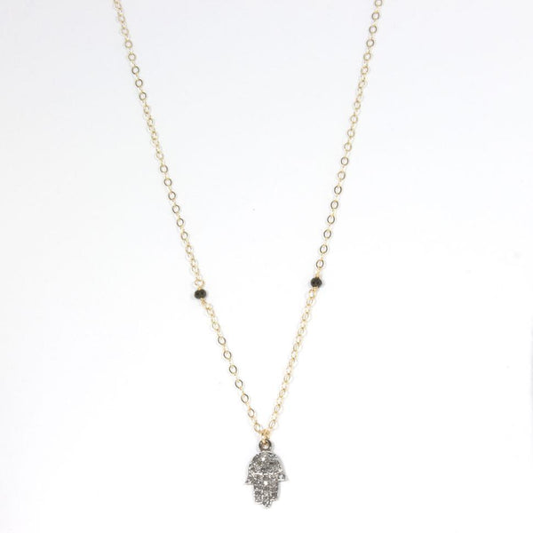 Throwing Stars Jewelry Necklaces Pave Diamond Hamsa Necklace