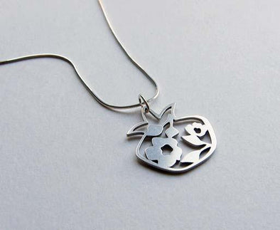 Silver Blooming Pomegranate Pendant Necklace by Melanie Dankowicz by Melanie Dankowicz - ModernTribe - 1