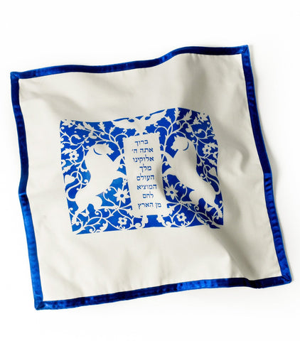 Lions Challah Cover - White by Barbara Shaw - ModernTribe