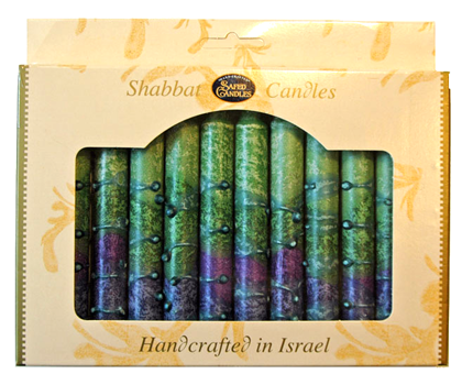 Sunrise Green Shabbat Candles | Set of 12 by Safed - ModernTribe