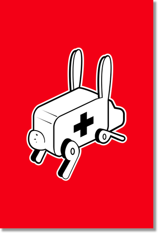 "Rabbit Ambulance - Canvas Wrap (24"" x36"")"