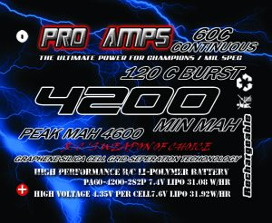 Pro Amps 4200mah HV 2S 60c Hard Case short pack LiPo Battery features Silica Graphene Cell seperation Grid