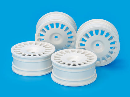 Tamiya Medium-Narrow Rally Dish Wheels (24mm Width, Offset 0) (White) 4pcs. Item No: 54851