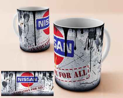 Nissan vintage oil can mug