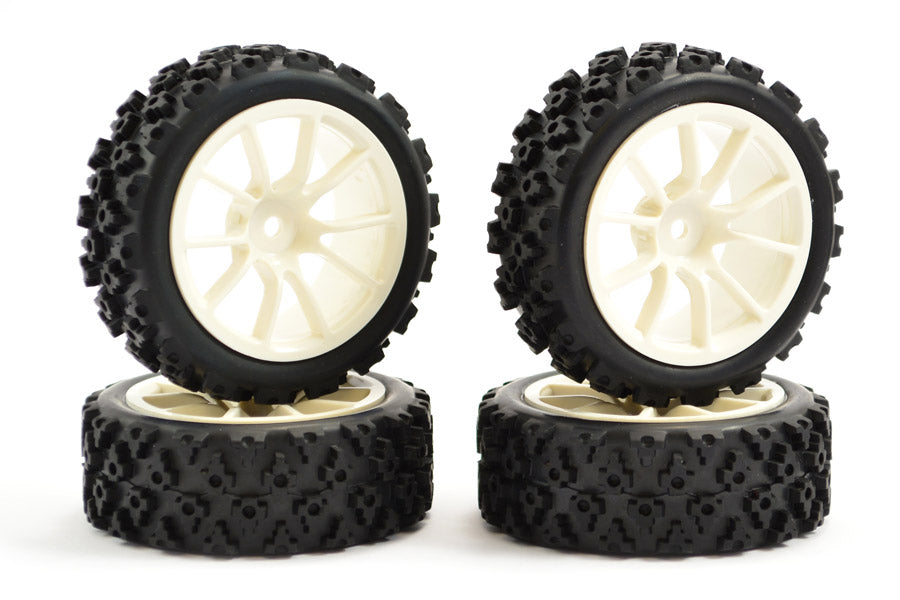 FASTRAX 1/10 STREET/RALLY TYRE 10SP WHITE WHEEL