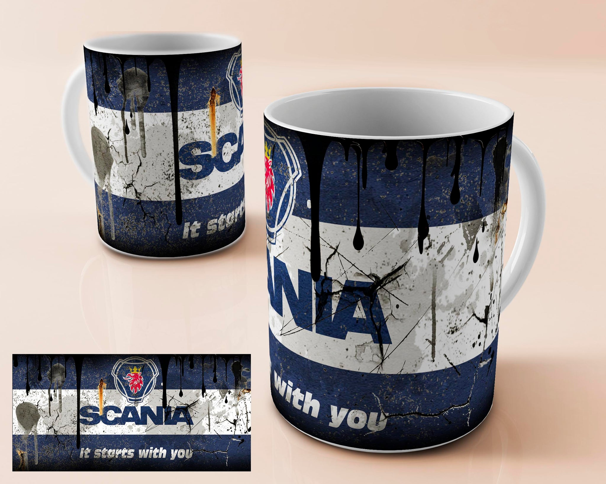 Scania vintage oil can mug