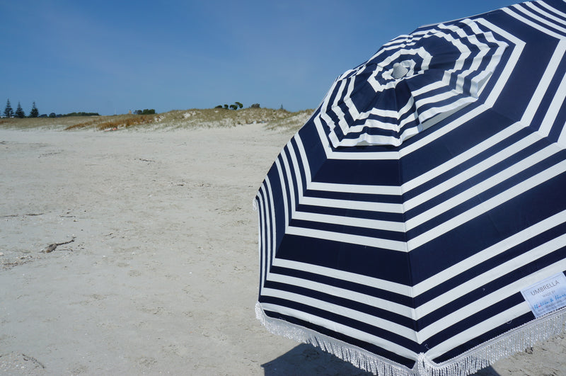 Hollie & Harrie Retro Fringe Beach Umbrella - Moroccan Blue