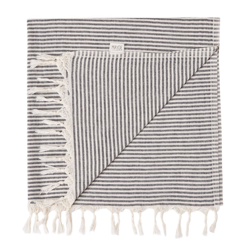 Beachkit - MAYDE - Noosa Beach Towel - Black & Natural
