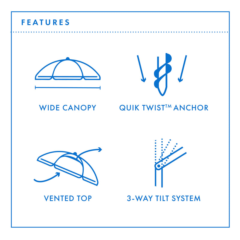 Beachkit Daytripper 210cm Beach Umbrella - Features