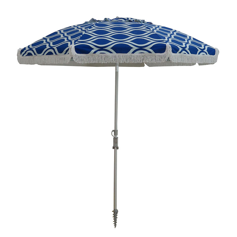 Hollie & Harrie 210cm Fringe Beach Umbrella - Moroccan Blue