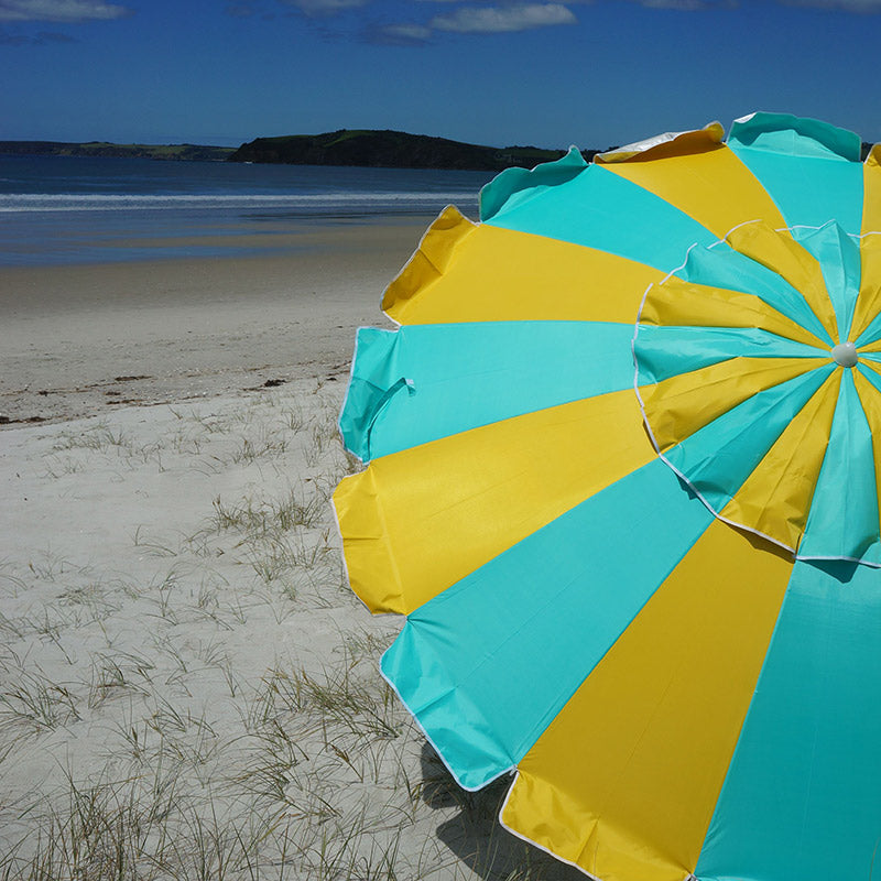 Beachkit Carnivale 240cm Beach Umbrella - Turquoise Yellow