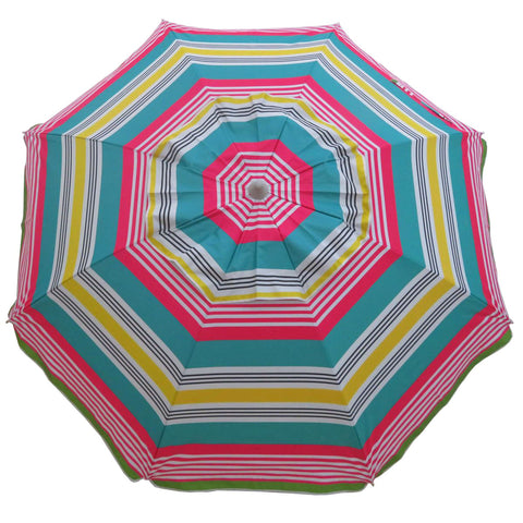 Hollie & Harrie 210cm Fringe Beach Umbrella - Iridescent Stripe - SOLD OUT