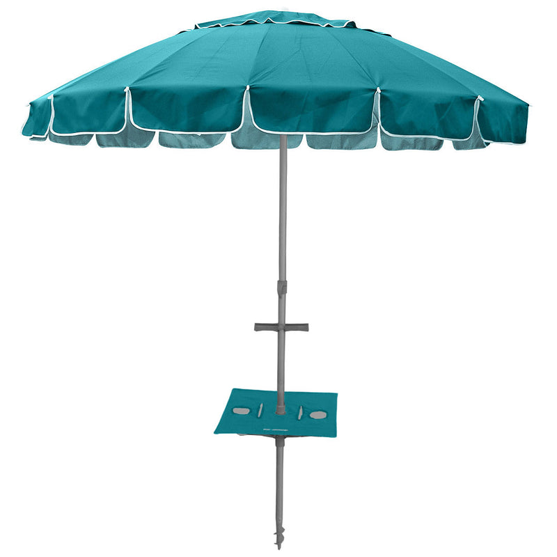 Beachkit Maxibrella 240cm Beach Umbrella + Sunraker Table - Turquoise