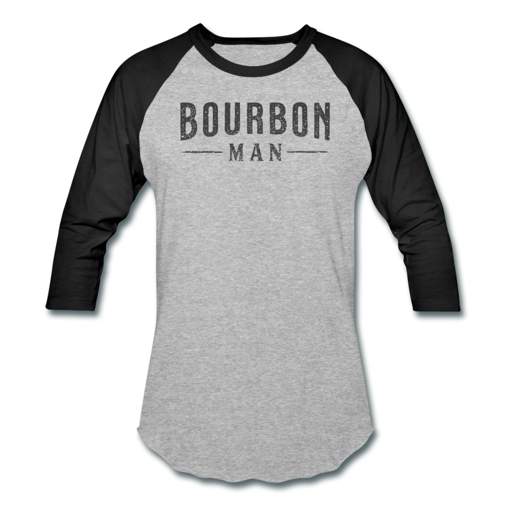 BOURBON MAN Baseball Tee - heather gray/black