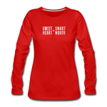 Load image into Gallery viewer, Sweet Heart + Smart Mouth Women's Long Sleeve Tee - red
