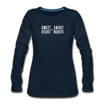 Load image into Gallery viewer, Sweet Heart + Smart Mouth Women's Long Sleeve Tee - deep navy