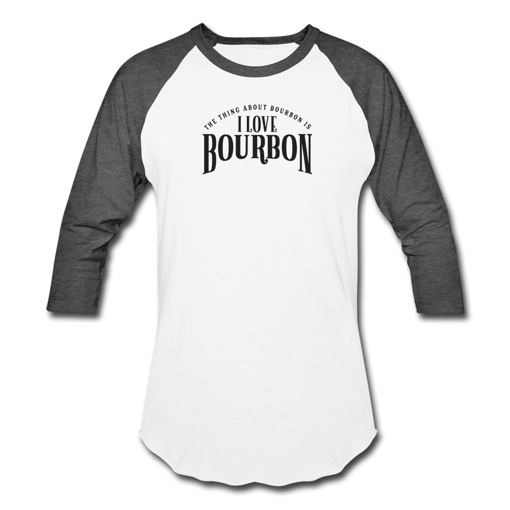 I Love Bourbon Baseball Tee - white/charcoal