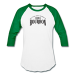 Load image into Gallery viewer, I Love Bourbon Baseball Tee - white/kelly green