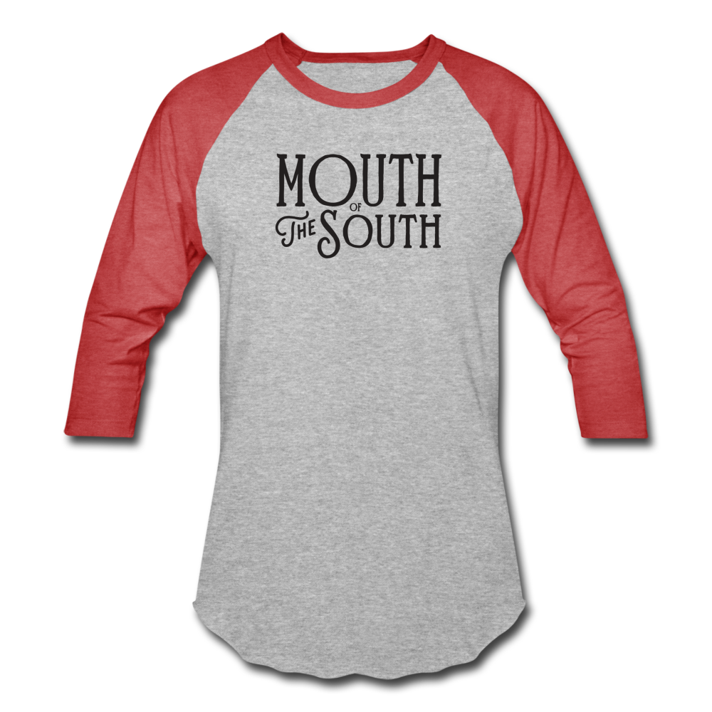 Mouth of the South Baseball Tee - heather gray/red