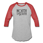 Load image into Gallery viewer, Mouth of the South Baseball Tee - heather gray/red