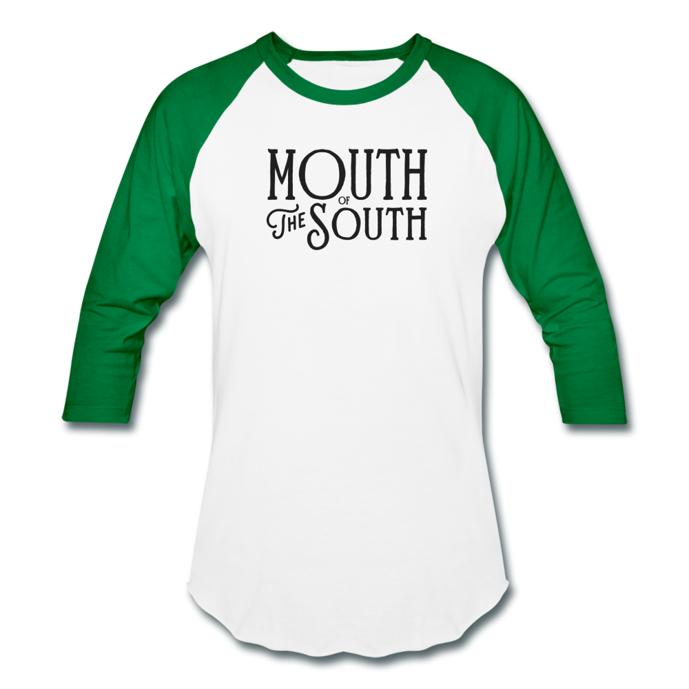 Mouth of the South Baseball Tee - white/kelly green