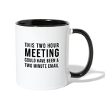 Load image into Gallery viewer, Two Hour Meeting Coffee Mug - white/black