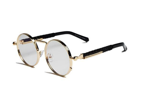 2-Tone Gold Python Sherlock Sunglasses (Clear Lenses)