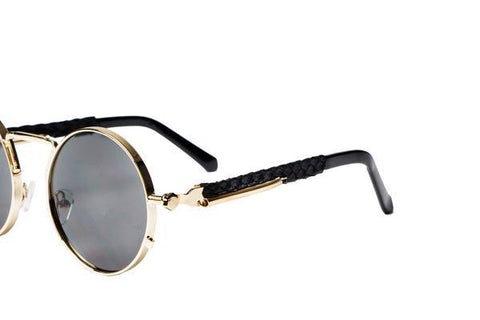 2-Tone Gold Python Sherlock Sunglasses (Black Lenses)