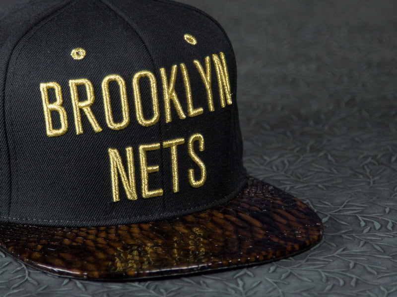 Brooklyn Nets Gold Edition Snakeskin Strapback
