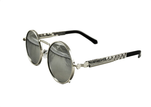 Silver Python Sherlock Sunglasses (Mirrored Lenses)