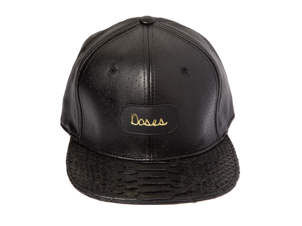 Doses Noir Perforated Snakeskin Strapback *SOLD OUT