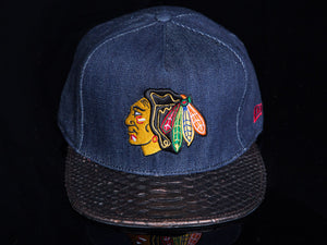 Denim Chicago Blackhawks Snakeskin Strapback