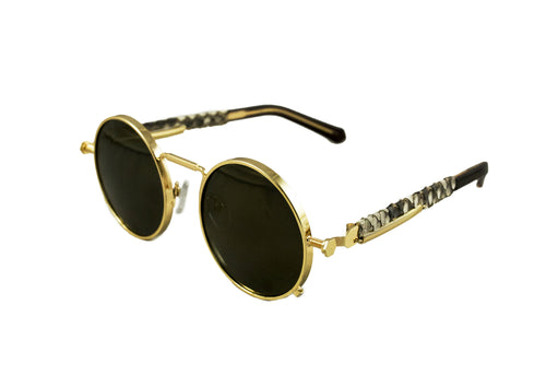 24K Gold Python Sherlock Sunglasses (Black Lenses)