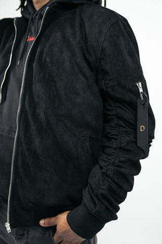 Doses Suede Leather Bomber Jacket