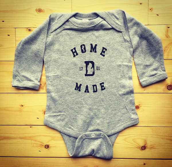 Detroit Home Made 1701 Long Sleeve Onesie - Heather Grey with Black