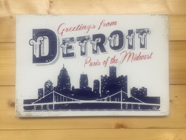 Greetings From Detroit Paris Of The Midwest Rustic Wood Signs