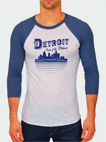 Detroit Paris of The Midwest - Unisex Tri-Blend 3/4 Sleeve Raglan T-Shirt - Royal Blue