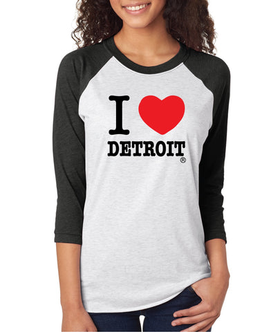 I Love Detroit  - Unisex 3/4 Sleeve Baseball T-Shirt - Black