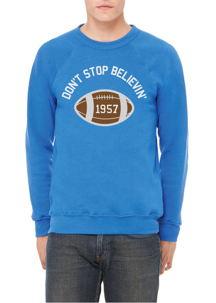 Detroit Don't Stop Believin' 1957 - Unisex Sponge Crew Neck Sweatshirt - Royal Blue