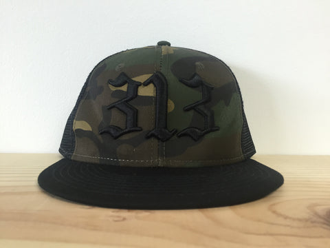 313 - Flat Bill Puff Print Snap Back Hat - Camouflage
