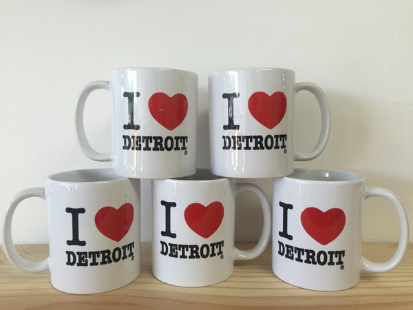 I Love Detroit White Coffee Mug