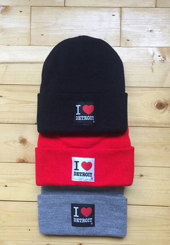 I Love Detroit - Knit Beanie with Cuff