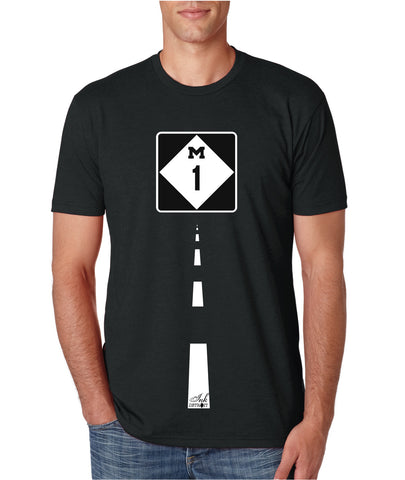 M1 Woodward Ave - T-Shirt - Black with White