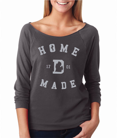 Detroit Home Made 1701 - Raw Edge 3/4 Sleeve Raglan T-Shirt - Dark Grey