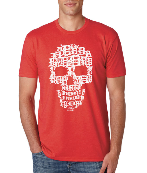 Detroit Skull - T-Shirt - Red with White