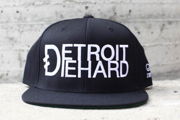 Detroit Diehard - Flat Bill Snap Back Hat - Black / White