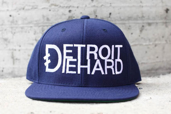 Detroit Diehard - Flat Bill Snap Back Hat - Navy / White