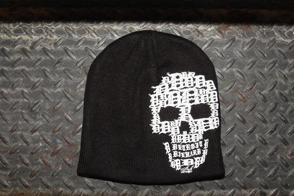 Detroit Skull Knit Beanie - Black