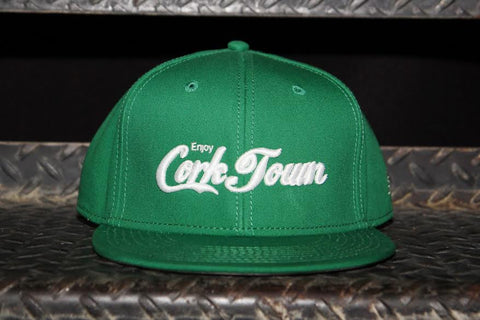 Enjoy Corktown - Flat Bill Puff Print Snap Back Hat - Green / White