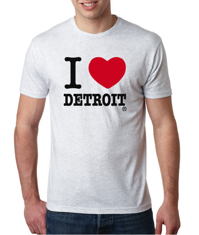 I Love Detroit - White - Tri-Blend T-Shirt